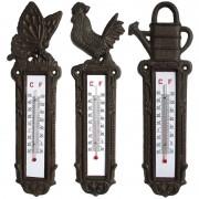 Ensemble de 3 thermomètres muraux animaux 8x28cm