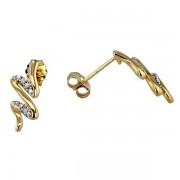 Boucles d'oreilles vagues pavées de diamants en or jaune