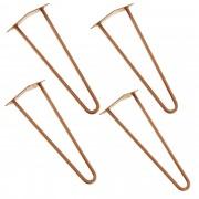 [en.casa]® Štýlové stolové nohy 2 – sada nôh (4 kusová) - 40 cm - bronzové