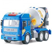 Emob Friction Powered Real Mechanism Cement Mixer Construction Truck Toy with Light and Sound (Blue)