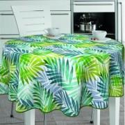 Merkloos Buiten tafelkleed/tafelzeil tropische palmbladeren print 160 cm