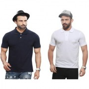 Kundan Sulz Gwalior's Exclusive for Men's 100% Pure-Cotton Polo Neck T-Shirt-Navy Blue & White ( Pack of 2 T Shirt )