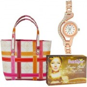 Pack Of 3 Facial Kit Hand Bag And Women Wrist Watch By Adbeni