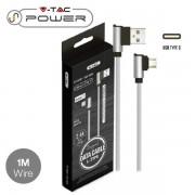 CAVO USB A USB TYPE C 1 METRI GRIGIO DIAMOND SERIES VT-5362-LED8639
