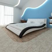 vidaXL Pat cu saltea, spumă cu memorie, alb, 180 x 200 cm, piele eco