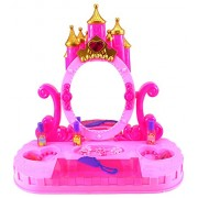 Velocity Toys Princess Castle Table Top Pretend Play Battery Operated Toy Beauty Mirror Vanity Play Set w Flashing Lights Sounds Accessories
