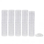 MagiDeal 100 Pieces Plastic Clear Round Coin Case Capsule Storage Holder for Coin Collecting 19/22/28/30/37/38mm - clear, 19mm