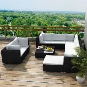 Set mobilier de grădină 32 piese, poliratan, negru