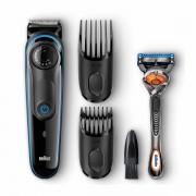 Masina de tuns barba Braun BT 3040, Aut. 8 ore/ 60 min. incarcare, Negru/Albastru + Gillette Fusion ProGlide