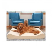 FurHaven Ultra Plush Luxe Lounger Cooling Gel Dog Bed w/Removable Cover, Cream, Jumbo