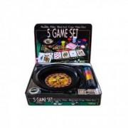 Set Casino 5in1 cu ruleta poker carti de joc si zaruri