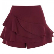 River Island Bordeauxrode short met gelaagde ruches