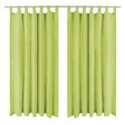 vidaXL Mikro Satenske Zavjese 2 kom s Tregerima 140x225 cm Zelene