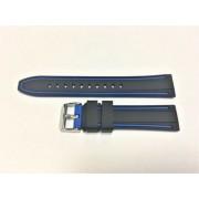 SZ1376 Alfa kék-fekete műanyag óraszíj 20-as