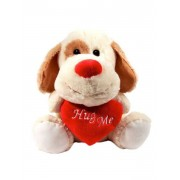 Cream and Brown 15 Inch Dog Soft Toy with Red Hug Me Heart