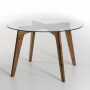 """AM.PM Runder Tisch """"Kristal"""" Ø130 cm, Glas/Nussbaum"""
