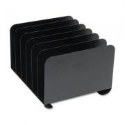 Desktop Vertical Organizer, Six Sections, Steel, 12 X 11 X 8 1/8, Black