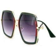 Erminio Palamino Over-sized Sunglasses(Green, Red)