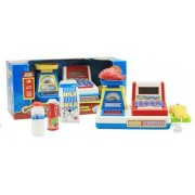 Mini Supermarket Cash Register with Checkout Scanner, Weight Scale, Calculator, Play Money and Food