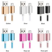 Nylon Braided Micro USB Cable Creative Charger Data Sync USB Cable Cord for Android (Colour may Vary)