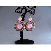 Cercei bijuterie aurii cu pietre roz