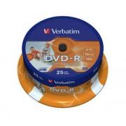 DVD-R Verbatim SL 16X 4.7GB 25PK SPINDLE WIDE INKJET PRINTABLE ID BRANDED (43538)