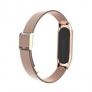 For Xiaomi Mi Band 3 Stainless Steel Magnetic Buckle Watch Strap - Rose Gold