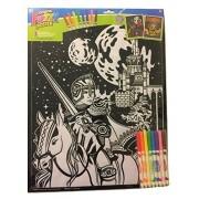 """Roseart Original Fuzzy 2 Poster Set ~ Fantasy Fun (Knight Outside Castle + Wizard; 16"""" x 20""""; 1 Fuzzy, 1 Standard)"""