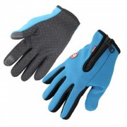 Touch Windproof Riding Deportes al aire libre Full Dedo Guantes - Azul (L)