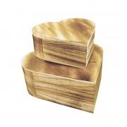 Set doua cutii lemn decoupage inimioara