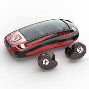 T911 TWS Stereo Sound Mini Bluetooth 5.0 Music Headphones with Charging Bin - Red
