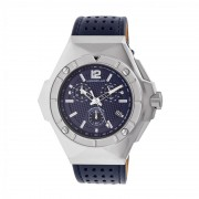 Morphic M55 Series Chronograph Leather-Band Watch w/Date - Silver/Blue MPH5503