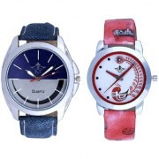 Stylish Smile Dial And Red Peacock Colour Couple Casual Analogue Wrist Watch By Google Hub
