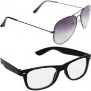 just style Wayfarer, Aviator Sunglasses(Clear, Violet)
