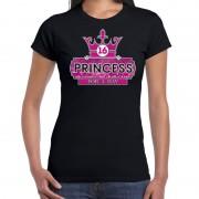 Bellatio Decorations Princess 16e verjaardag t-shirt zwart voor dames 2XL - Feestshirts