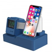 3-in-1 Retro Silicone Stand Holder for iPhone/Apple Watch/Airpods - Blue