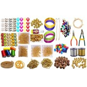 GOELX Silk Thread Jewellery Making Premium Quality Kit, 50 pair jhumka earring base with bali ring, Jewellery Making Materials,Full of Jewellery Making Items Including Stones & Beads, All Items set with Silk Thread, Zari Thread, Stone Ball & Tools (26 ite