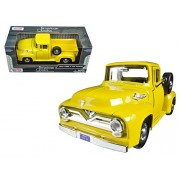 Riedell Shoes 1955 Ford F-100 Pickup Truck Yellow 1/24 Diecast Model Car by Motormax