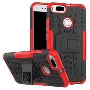 Xiaomi Mi A1 Anti-Slip Hybrid Case met Standaard - Rood / Zwart