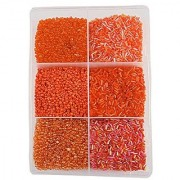 eshoppee 300 gm glass beads /seed beads/ glass pipe pipes / glass bead / seed bead/ cut beads/ 300 gm jewelery maiking art and craft diy kit (orange)