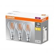 LED filament bulb B22d 7W, warm white, set of 3