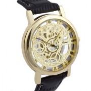 Skeleton Transparent Watch Black Belt Analog Mens Watches by 7star