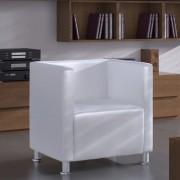 vidaXL Fotoliu cub, alb, piele ecologică