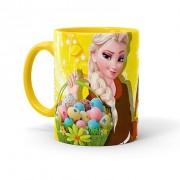 Caneca Chocolate Feliz Páscoa Frozen Elsa 02 Amarela