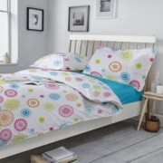 Lenjerie de pat Dormisete Smile 180x215 / 50x70 bumbac 100 pentru pat 2 persoane 4 piese cearceaf pat uni Turqoaz