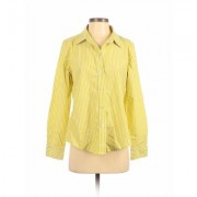 Liz Claiborne Long Sleeve Button Down Shirt: Green Print Tops - Size Medium