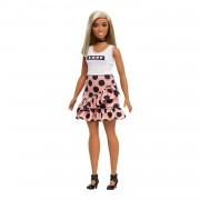Barbie Fashionista - Muñeca con pelo liso y falda con volantes