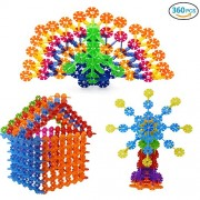 Lychee Children Plastic Building Blocks-360 Pcs Snowflakes Set - Learning & Educational Creative Toys with Storage Box for Kids Boys and Girls
