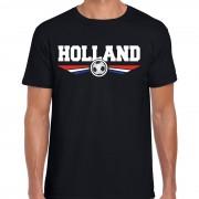 Bellatio Decorations Holland landen / voetbal shirt met wapen in de kleuren van de Nederlandse vlag zwart voor heren