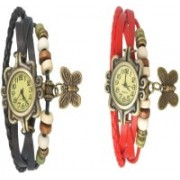 T TOPLINE Black & REd Dori analoge stylish designer watches for girl and women Watch - For Girls